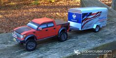 Ford Raptor and Trailer promotional paper model | www.papercruiser.com