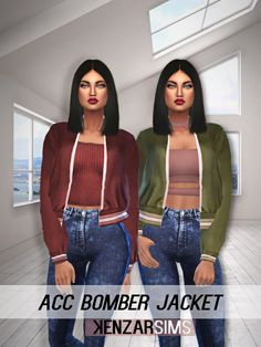 """kenzar-sims: """" Kenzar ACC Bomber Jacket These days i've seen a lot of bomber jackets online and i fell in love with this one. -10 colors -The mesh is by @savage-sims Thank you ! DOWNLOAD Bomber jacket: Simfileshare ( MESH, you need it ! ) """""""