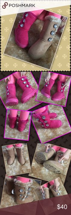 "3-Button Boot Oh so cozy for her Toezies. Style and comfort! Tan are size 11 little kid, fuchsia are size 8 little kid.  Six sparkling buttons on each boot for dazzling fashion she will adore! 1"" heel, 8"" shaft, man made. Suede like outer, nice rubber soles for traction and winter weather, Faux furry softness lining! Shoes Boots"