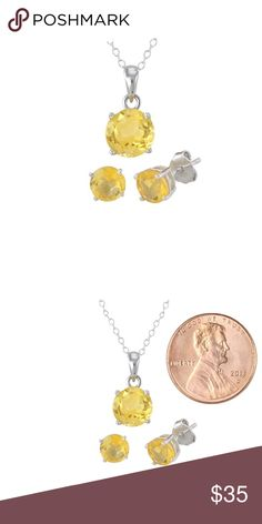 Citrine Gemstone Necklace and Earrings Set NWOT. Chain and studs are GOLD not silver. Jewelry Earrings