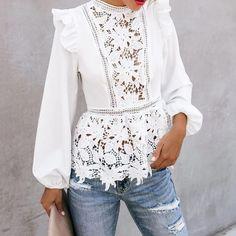 Blouse Peplum, Lace Peplum, Look Fashion, Fashion Outfits, Womens Fashion, Fashion Design, Paris Fashion, Fashion Tips, White Shirts Women