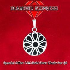 14K Gold Black Enamel Circle Dangle Pendant Without Chain. Starting at $1