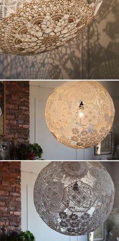 Gehaakte lamp [A lamp from crochet] {Lampe Crochet} Lampe Crochet, Doily Lamp, Outdoor Light Fixtures, Lace Doilies, Unique Lamps, Lampshades, Home Interior, Light Decorations, Christmas Diy
