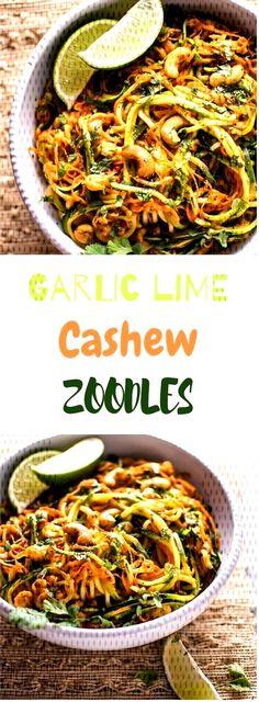 #healthyrecipe #veganmeal #zoodles #garlic #cashew #lime Garlic Lime Cashew ZoodlesGarlic Lime Cashew ZoodlesGarlic Lime Cashew Zoodles Vegan Zoodle Recipes, Paella, Garlic, Lime, Ethnic Recipes, Food, Limes, Essen, Meals
