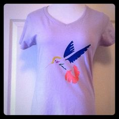 """Neurofibromatosis. Team Kalley-Rose T. Lavender T with hummingbird. Painted with love  by Kalley-Rose. Size small (4-6) 100% cotton. 36"""" bust and the length measures 25 inches. Thank you for your wonderful support of Kalley-Rose and for stopping by @treasuresbytrac.  Tops"""