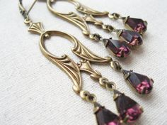 Purple Earrings Vintage Deco Style by dellabellaBoutique on Etsy
