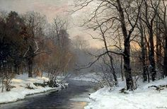 The Woods in Silver and Gold; View of a River and Snowy Woodland at Dusk -  Anders Andersen-Lundby (1841-1923)