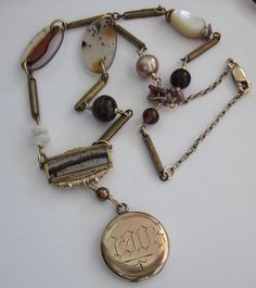 Repurposed Jewelry Ideas | SOLD 1903 Victorian Locket Moss Agate Assemblage Necklace - one of a ...