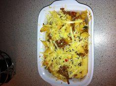 "Low-FODMAP version of ""cheeseburger casserole"" made today. Recipe is on my blog:  http://fodmapsexperience.blogspot.co.uk/2013/04/low-fodmap-casserole.html?m=1"