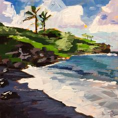 """Black Sand Beach"" original fine art by Teddi Parker"