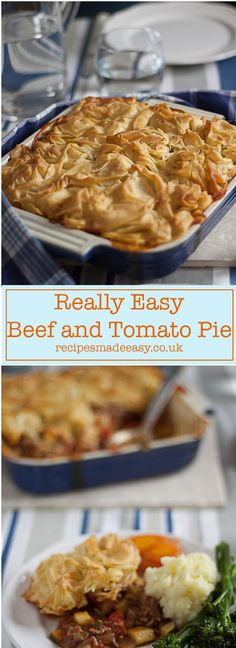The perfect time saving mid-week meal. A delicious bolognese style mince beef filling topped with crunchy filo pastry. Quick Dinner Recipes, Entree Recipes, Veggie Recipes, Beef Recipes, Great Recipes, Cooking Recipes, Potluck Recipes, Veggie Food, Amazing Recipes