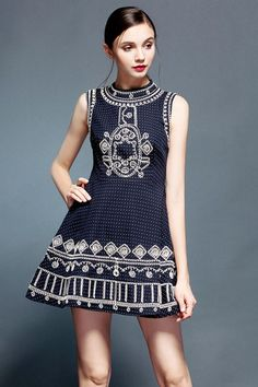 Blue Beaded Embroidered Dress