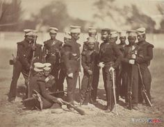 A rare photograph of a group of Gurkha soldiers from the 1st Gurkha rifles during the famous Indian Mutiny or Great Sepoy Rebellion (1857-1858). So, it makes it one of the oldest known photographs taken of Nepalis (Or Gurkhas). Date photographed: c.1857-1858 | The first Gurkha Regiments were incorporated into the British army in about 1816. The Nusseree Battalion later became the 1st Gurkha rifles.