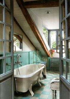 #bathroom #seafoamgreen #clawfoot #bathtub #checkeredtiles