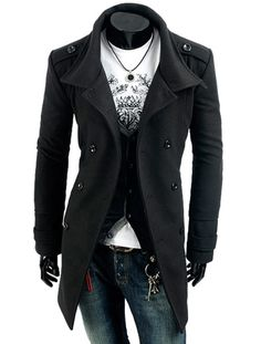Men's Two Way Collar Military Coat