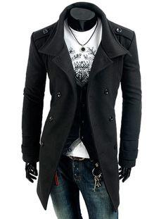 Men's Two Way Collar Military Coat