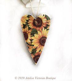Sunflowers Thanksgiving Heart Sunflowers Door Hanger Yellow   Etsy Handmade Home Decor, Etsy Handmade, Handmade Gifts, Sunflower Door Hanger, Wood Tags, Hanging Hearts, Door Hangers, Vintage Floral, Hanging Ornaments