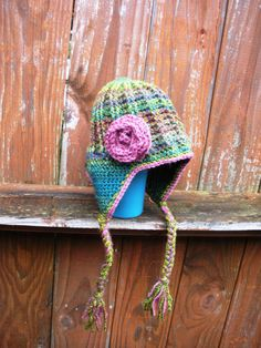 Toddler Girls crochet earflap beanie hat with rose by luvbuzz.etsy.com