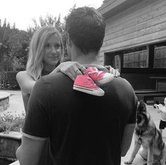 """The Celeb: Kristin Cavallari How She Shared the News: On her app It's a girl for Cavallari and hubby Jay Cutler! The couple posed for a sweet photo -- black and white photo except for a pair of shocking pink Converse sneakers -- to share their exciting news. The whole family is eager for a little girl to be joining the Cutler crew: """"The boys are so excited for a little sister!!!!!!,"""" reads the photo's caption."""