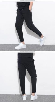 New Fashion Men Stretch Solid Slim Fit Elastic Harem Pants – kidenhome Fashion Pants, Fashion Men, Fashion Details, Fashion Outfits, Black Shirt Outfit Men, Harem Pants Men, Trousers, Black Jogger Pants, Sweatpants Style
