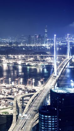 ↑↑TAP AND GET THE FREE APP! Shining City Bridge Road Awesome Night Lights Blue HD iPhone 5 Wallpaper