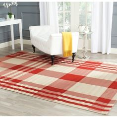 Safavieh Indoor/ Outdoor Courtyard Red/ Bone Rug ($192) ❤ liked on Polyvore featuring home, rugs, red, red rug, indoor outdoor area rugs, rectangular rugs, cream rug and red outdoor rug