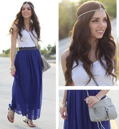 New outfit... modern bohemian: blue maxi skirt, silver hairpiece, rebecca mink off bag, steve madden sandals!