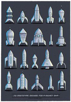 20 Prototype designs for a Rocket Ship - Allan Sanders : illustrator