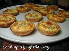 Mini Quiche Lorraine. Super simple to throw together, and the flavor is delicious. I used pre-made tart shells to make life easier. Next time, I'll fill with bacon instead of ham :)