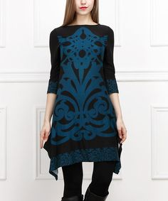Another great find on #zulily! Black & Teal Scrollwork Sidetail Tunic #zulilyfinds