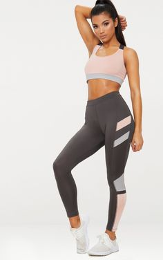 e52444c8604c Charcoal Colour Block Panel Sports Leggings