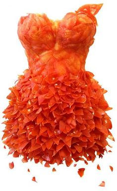 Orange Dress: Korean artist Sung Yeonju has designed a bunch of dresses constructed out of everyday food items like tomatoes, onions, and even bananas. Art Et Design, Food Design, Creative Design, Meat Dress, Orange You Glad, Color Naranja, Orange Crush, Orange Is The New Black, Red Black