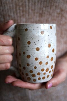 Floating Bubbles  Polka Dots Mug  16oz  by JessHunterCeramics