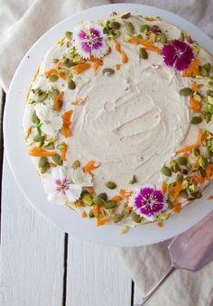 CARROT CAKE with CREAMY LEMON & ORANGE FROSTING [lifeofgoodness] [vegan]