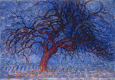 """El árbol rojo"", 1909, Piet Mondrian #Magarte #Historiadelarte #postimpressionism #pietmondrian #museomunicipaldelahaya 233/365"