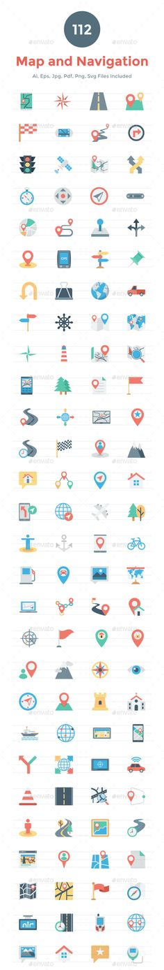 112 Flat Map and Navigation Icons