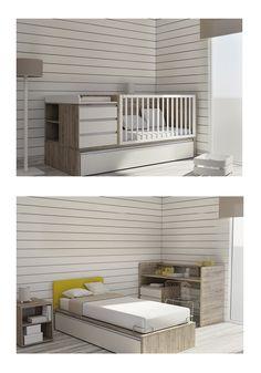 #Cuna convertible en #cama. Además incorpora una cama nido de 90x190cm. / #Llitet convertible en #llit. A més incorpora un llit niu de 90x190cm.