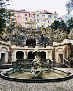 Praha 2~ If you follow the small alleys you will reach in the fountain in front of an artificial cave, galled grotto! Don't skip a visit!… Fountain, Cave, Mansions, House Styles, Instagram Posts, Home Decor, Decoration Home, Room Decor, Villas