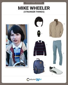 Get the cosplay costume of Mike Wheeler as you try to find Will Byers with the help of Eleven in the Netflix TV series Stranger Things Stranger Things Theme, Stranger Things Season 3, Cast Stranger Things, Diy Halloween Costumes, Halloween Party, Costume Ideas, Disfraces Stranger Things, Stranger Things Halloween Costume, Stranger Things Costumes