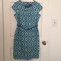 Ikat capped sleeve dress Cute blue ikat dress great for work or heading out on the town. Eden Court Dresses