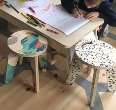 wooden chair for kids multicolour crazy pattern: