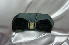Velvet bow bead evening bag bag from the 80's by PurseFancy