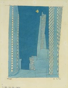 iamjapanese:    Lyonel Feininger(American, 1871-1956) Blue Skyscrapers  1937  Watercolor and India ink on laid paper