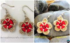 Crochet Button Flower Earring Free Pattern