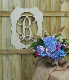 Items Similar To 24 Inch Unfinished Wooden Initial In Frame Door Hanger Wedding Guest Book Monogram Wall Hanging