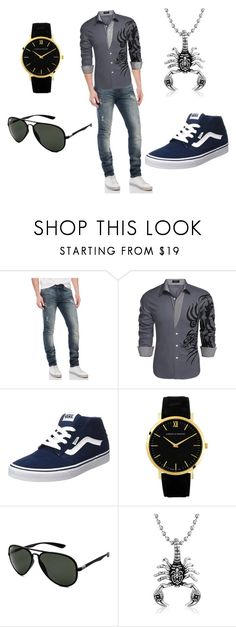 """Untitled #3"" by aldinkooo ❤ liked on Polyvore featuring William Rast, Vans, Larsson & Jennings, Ray-Ban, Bling Jewelry, men's fashion and menswear"