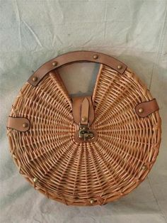 Vintage Etienne Aigner Round Leather Wicker Straw Handbag