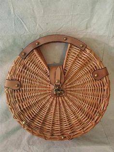 Vintage Etienne Aigner Round Leather Wicker Straw Handbag