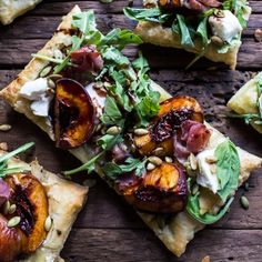 Balsamic Roasted Peach, Basil Chicken and Prosciutto Tarts