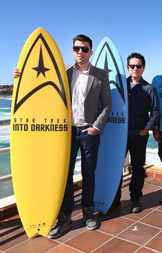 Zachary Quinto and J.J. Abrams with official Star Trek surfboards — need we say more?